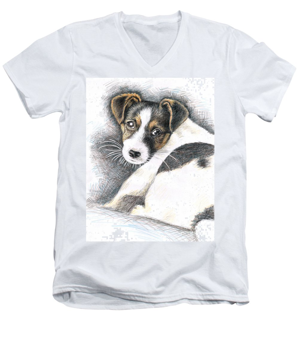 Dog Men's V-Neck T-Shirt featuring the drawing Jack Russell Puppy by Nicole Zeug
