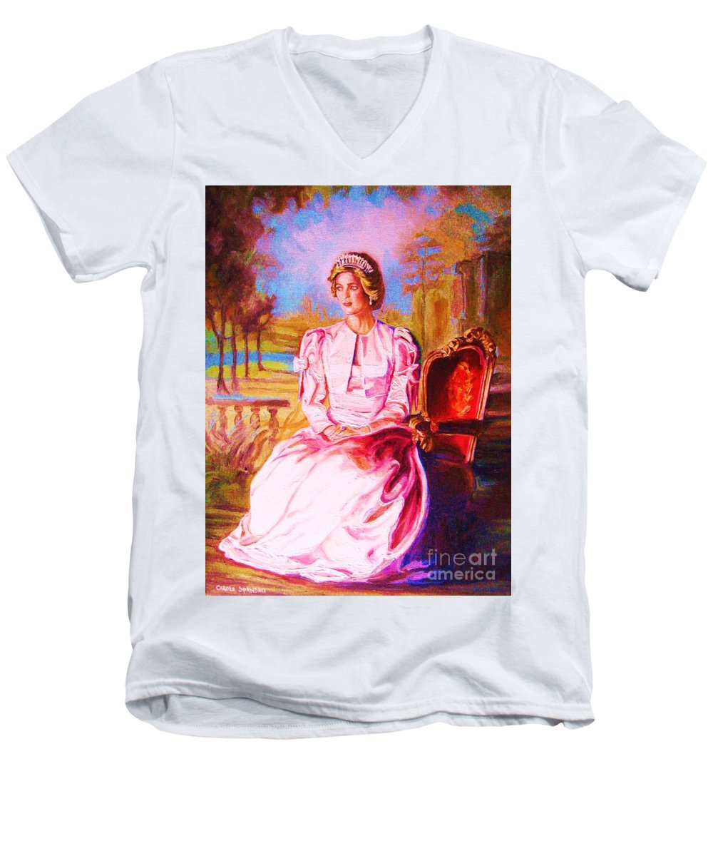 Princess Diana Men's V-Neck T-Shirt featuring the painting Lady Diana Our Princess by Carole Spandau