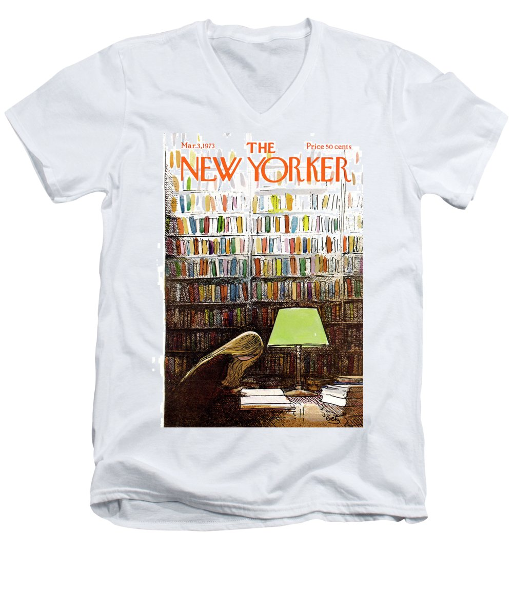 Library Men's V-Neck T-Shirt featuring the painting Late Night At The Library by Arthur Getz