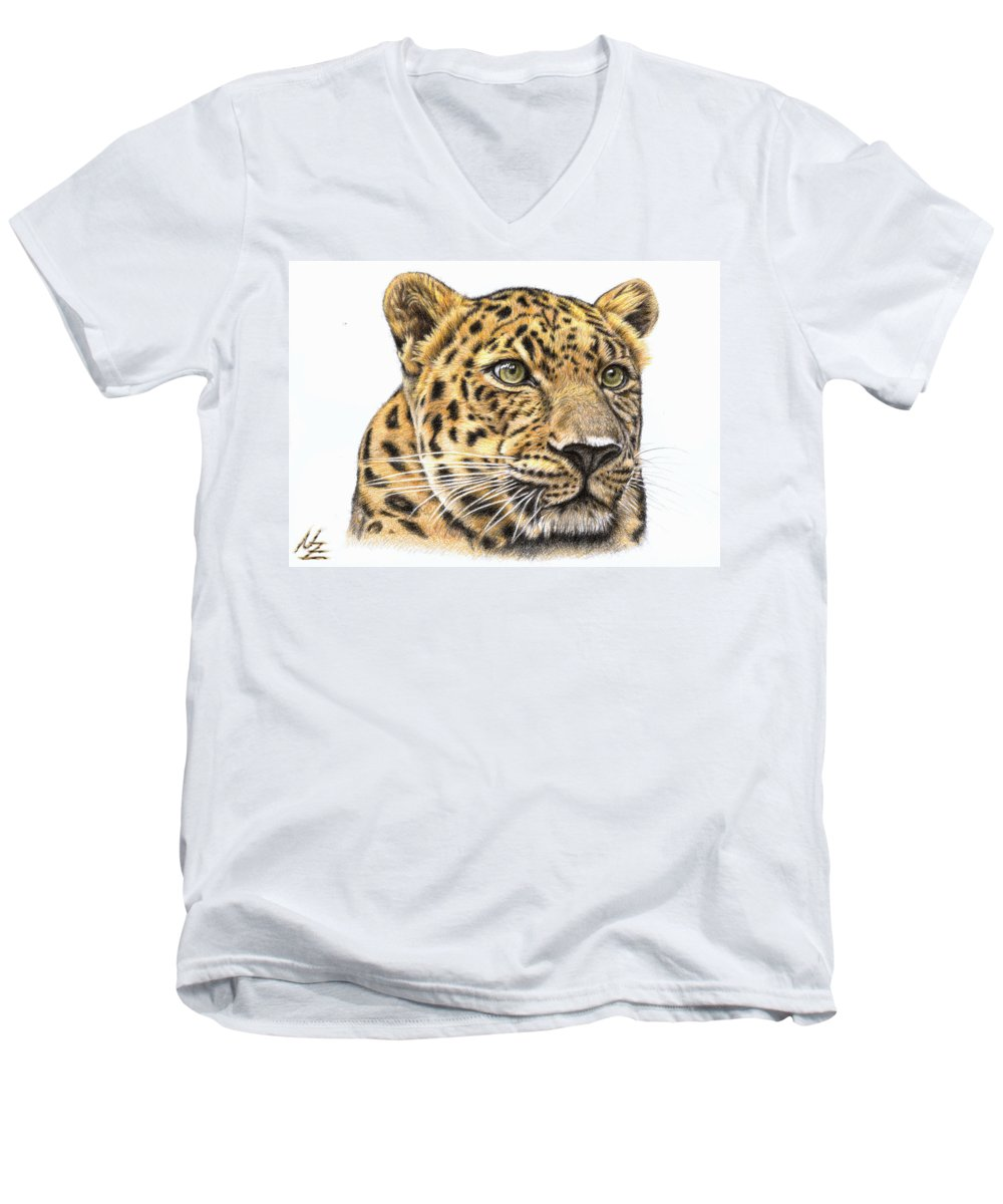 Leopard Men's V-Neck T-Shirt featuring the drawing Leopard by Nicole Zeug