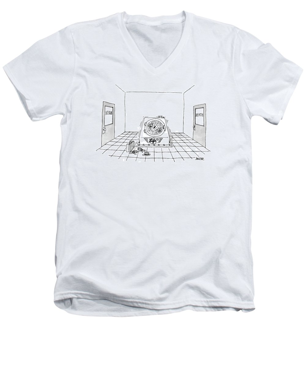 Birth Men's V-Neck T-Shirt featuring the drawing 'life Cycle' by Jack Ziegler