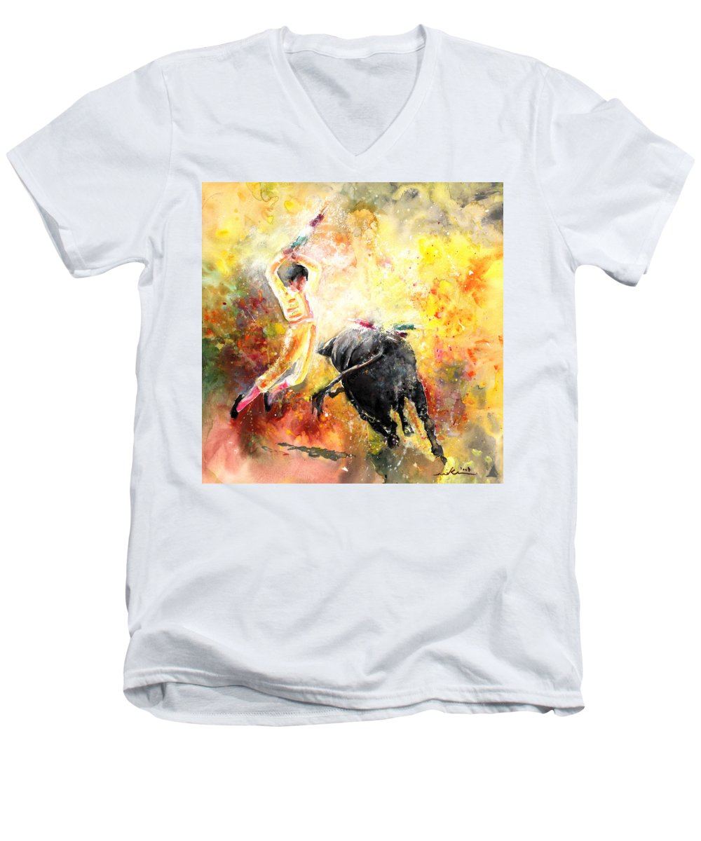Animals Men's V-Neck T-Shirt featuring the painting Lightning Strikes by Miki De Goodaboom