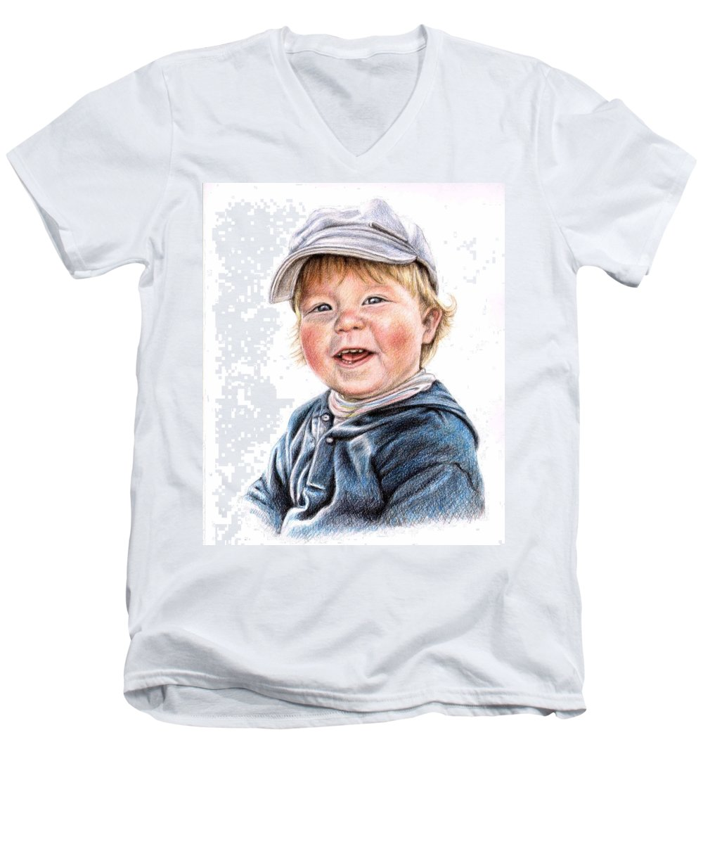 Boy Men's V-Neck T-Shirt featuring the drawing Little Boy by Nicole Zeug