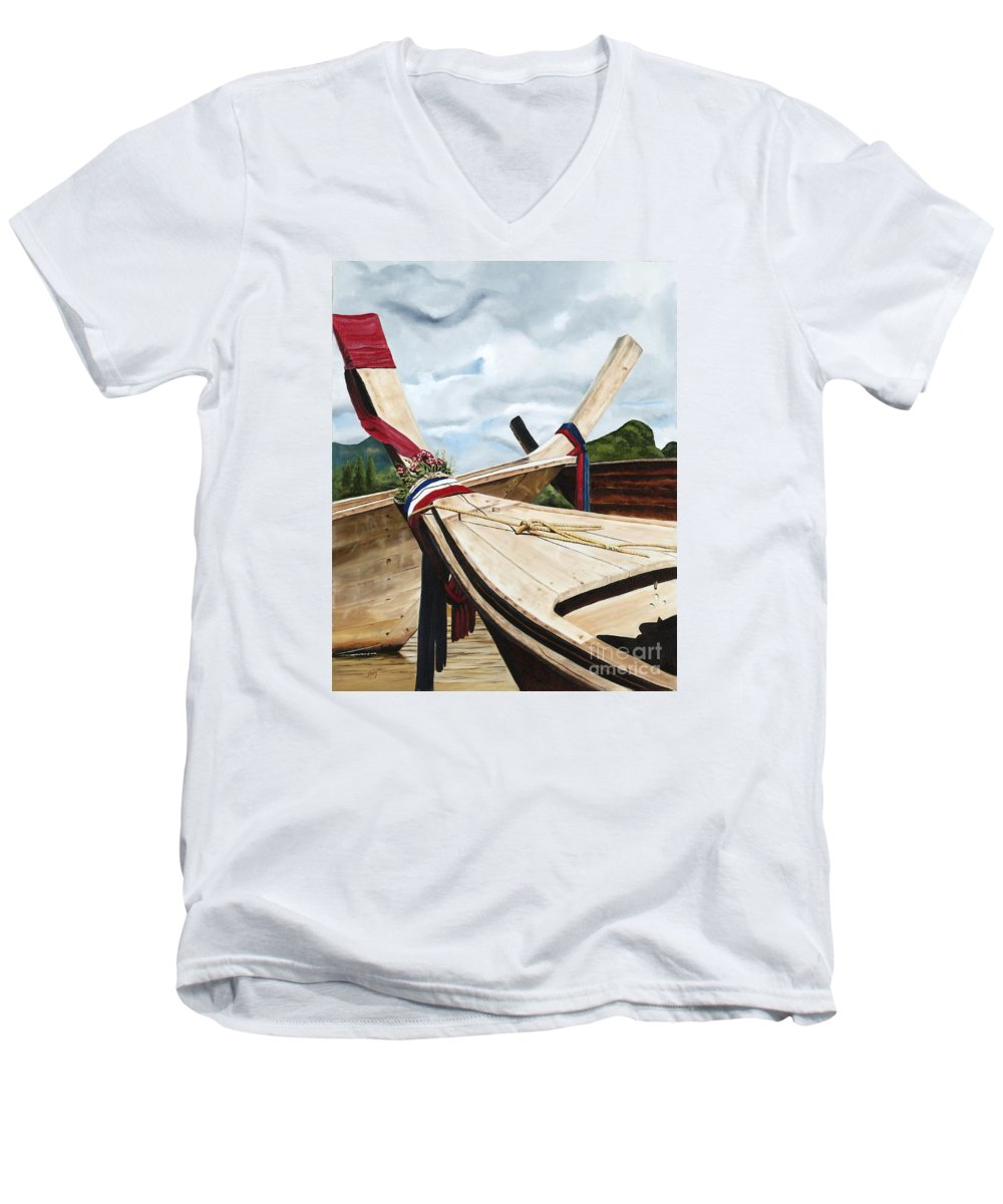 Art Men's V-Neck T-Shirt featuring the painting Long Tail Boats Of Krabi by Mary Rogers