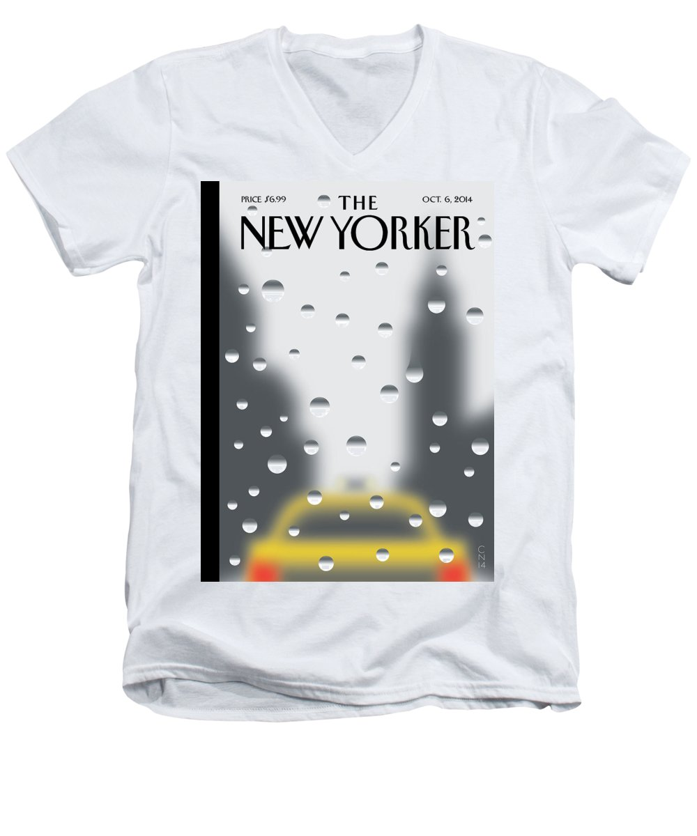 141060 Men's V-Neck T-Shirt featuring the painting Rainy Day by Christoph Niemann