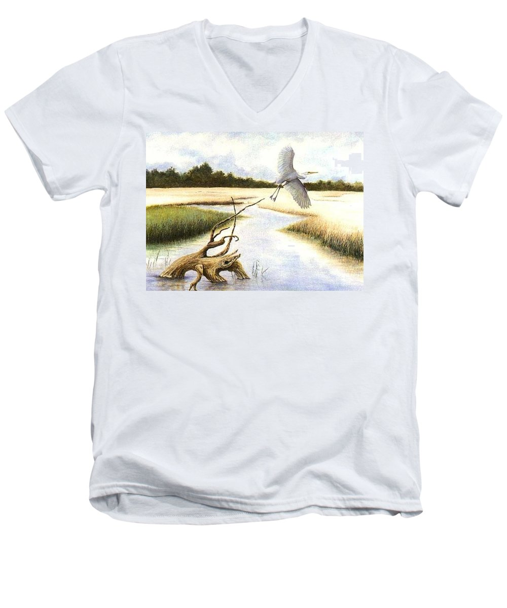 Egret Men's V-Neck T-Shirt featuring the painting Low Country Marsh by Ben Kiger