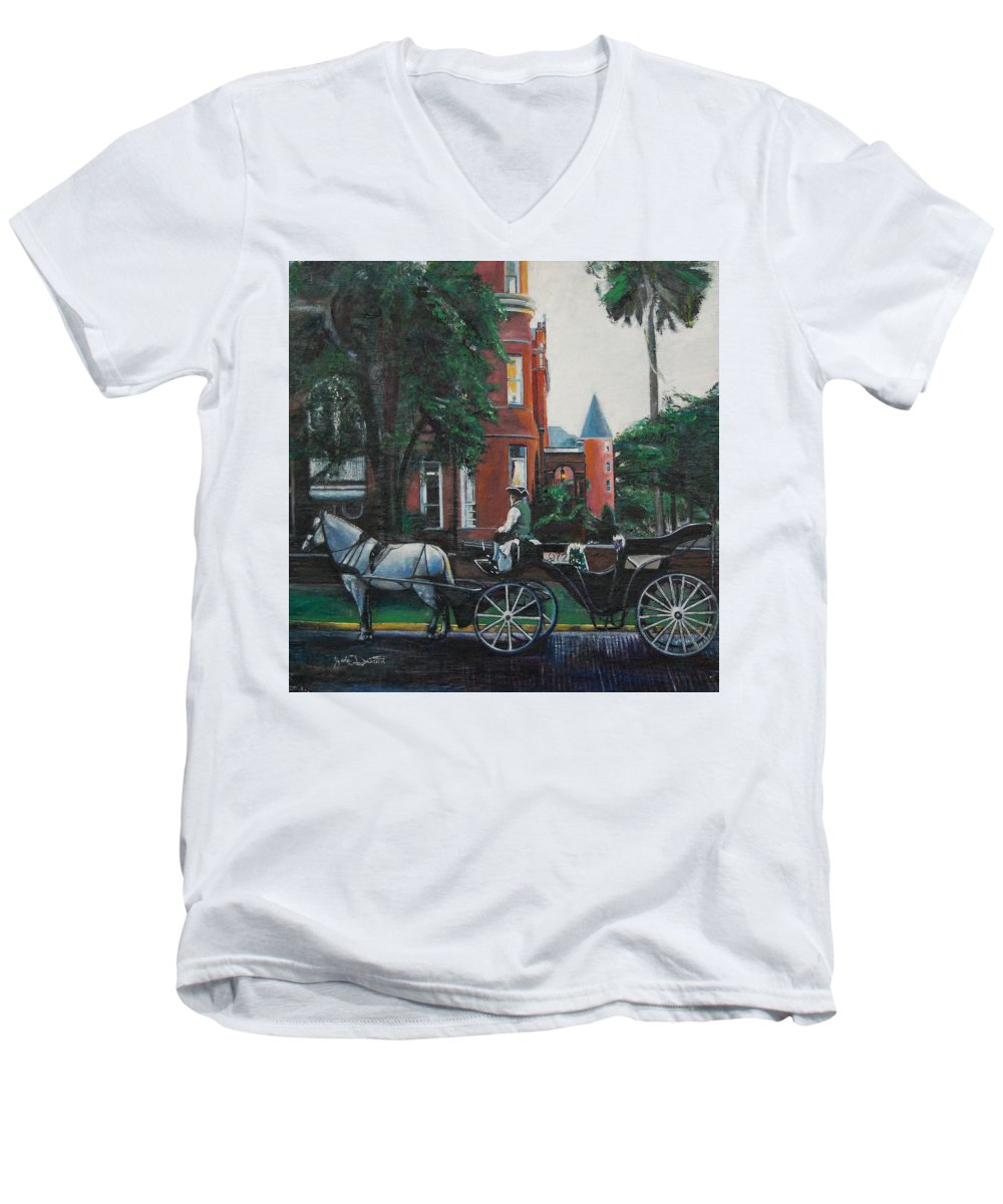 Men's V-Neck T-Shirt featuring the painting Mansion On Forsythe Savannah Georgia by Jude Darrien