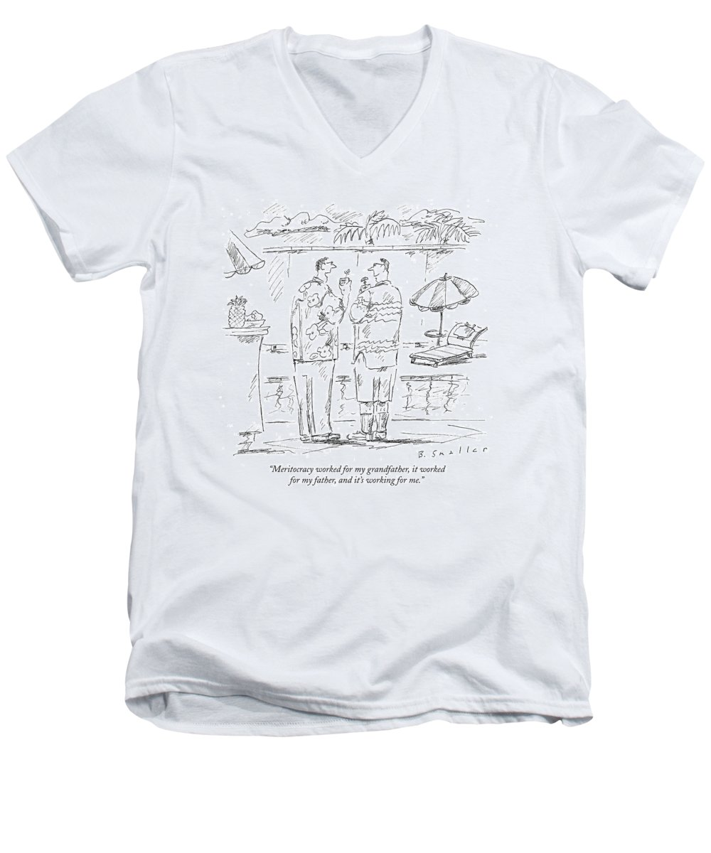 Meritocracy Men's V-Neck T-Shirt featuring the drawing Meritocracy Worked For My Grandfather by Barbara Smaller
