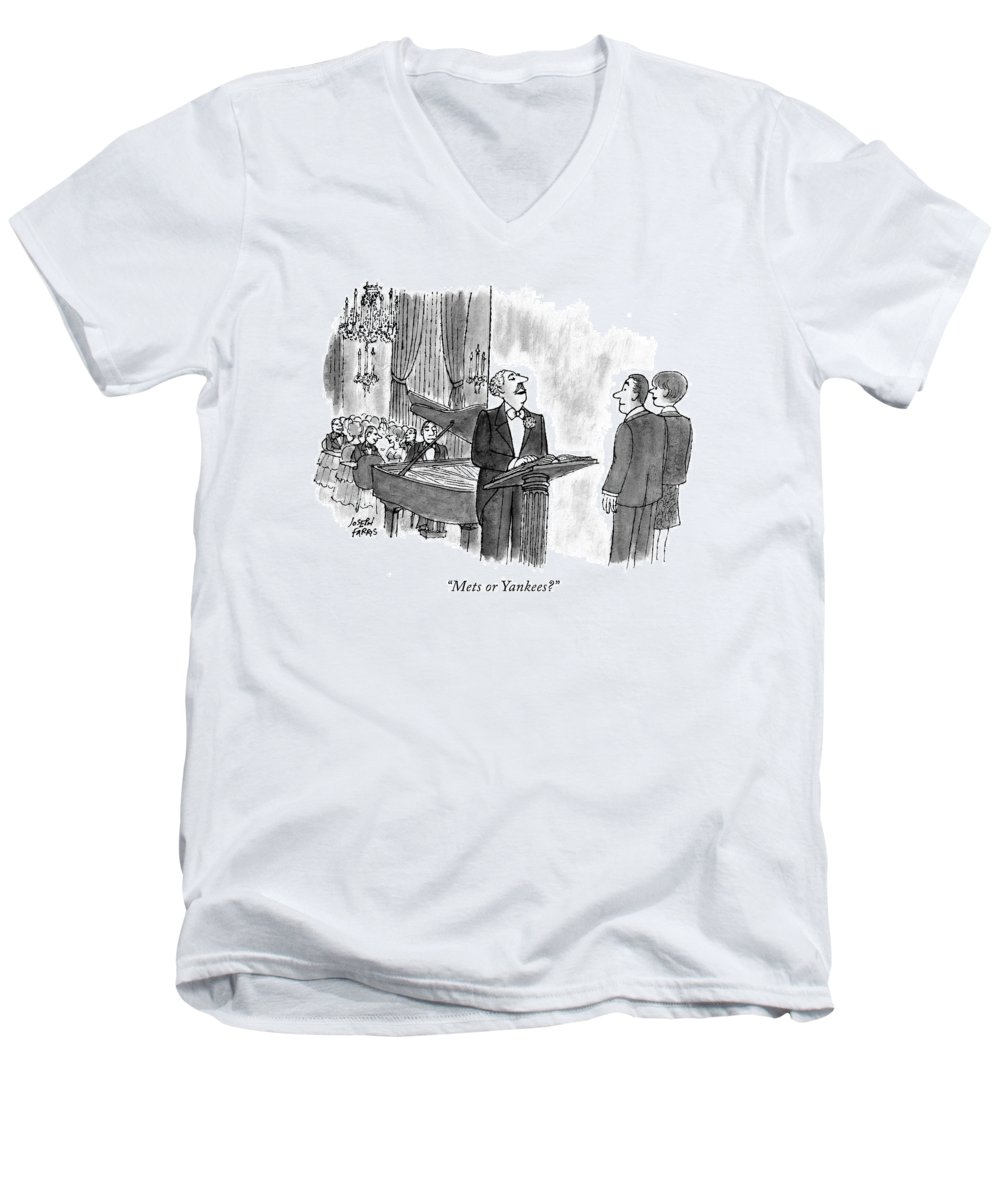 Restaurants - General Men's V-Neck T-Shirt featuring the drawing Mets Or Yankees? by Joseph Farris