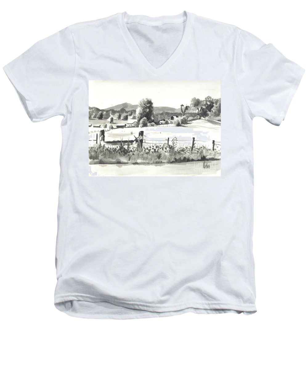 Midsummer View Out Route Jj  No I101 Men's V-Neck T-Shirt featuring the painting Midsummer View Out Route Jj  No I101 by Kip DeVore