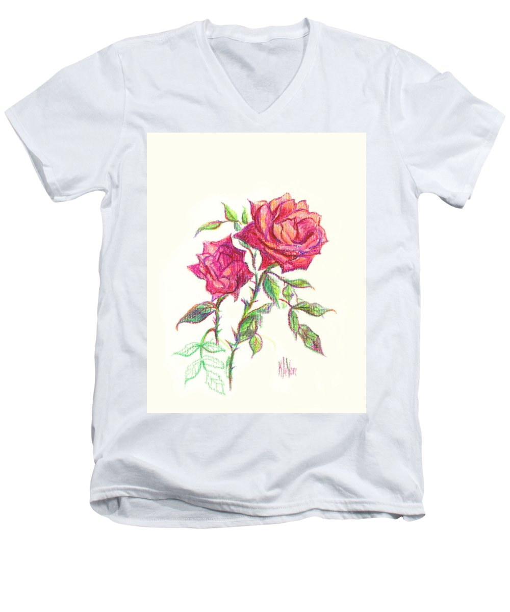 Nature Men's V-Neck T-Shirt featuring the painting Minature Red Rose by Kip DeVore