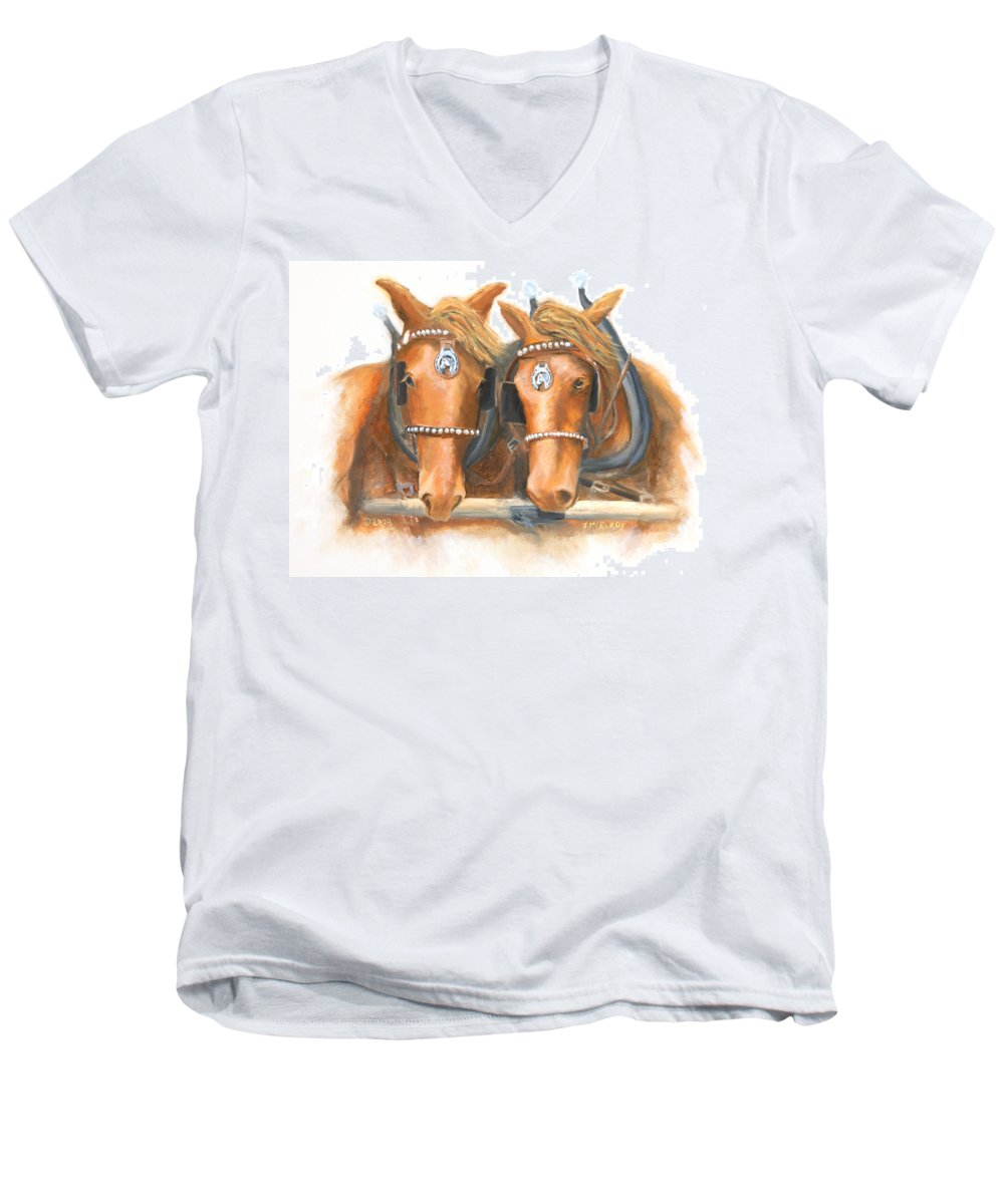 Horse Men's V-Neck T-Shirt featuring the painting Mini And Jake by Jerry McElroy