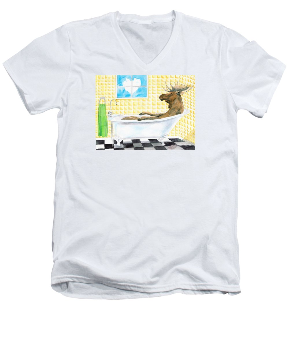 Moose Men's V-Neck T-Shirt featuring the painting Moose Bath by LeAnne Sowa
