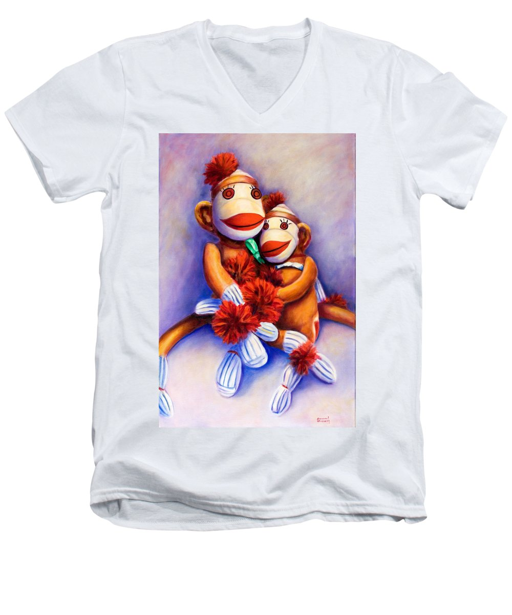 Children Men's V-Neck T-Shirt featuring the painting Mother And Child by Shannon Grissom