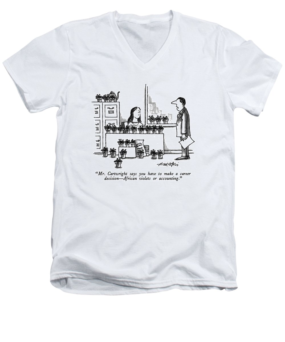 Bussiness Men's V-Neck T-Shirt featuring the drawing Mr. Cartwright Says You Have To Make A Career by Henry Martin