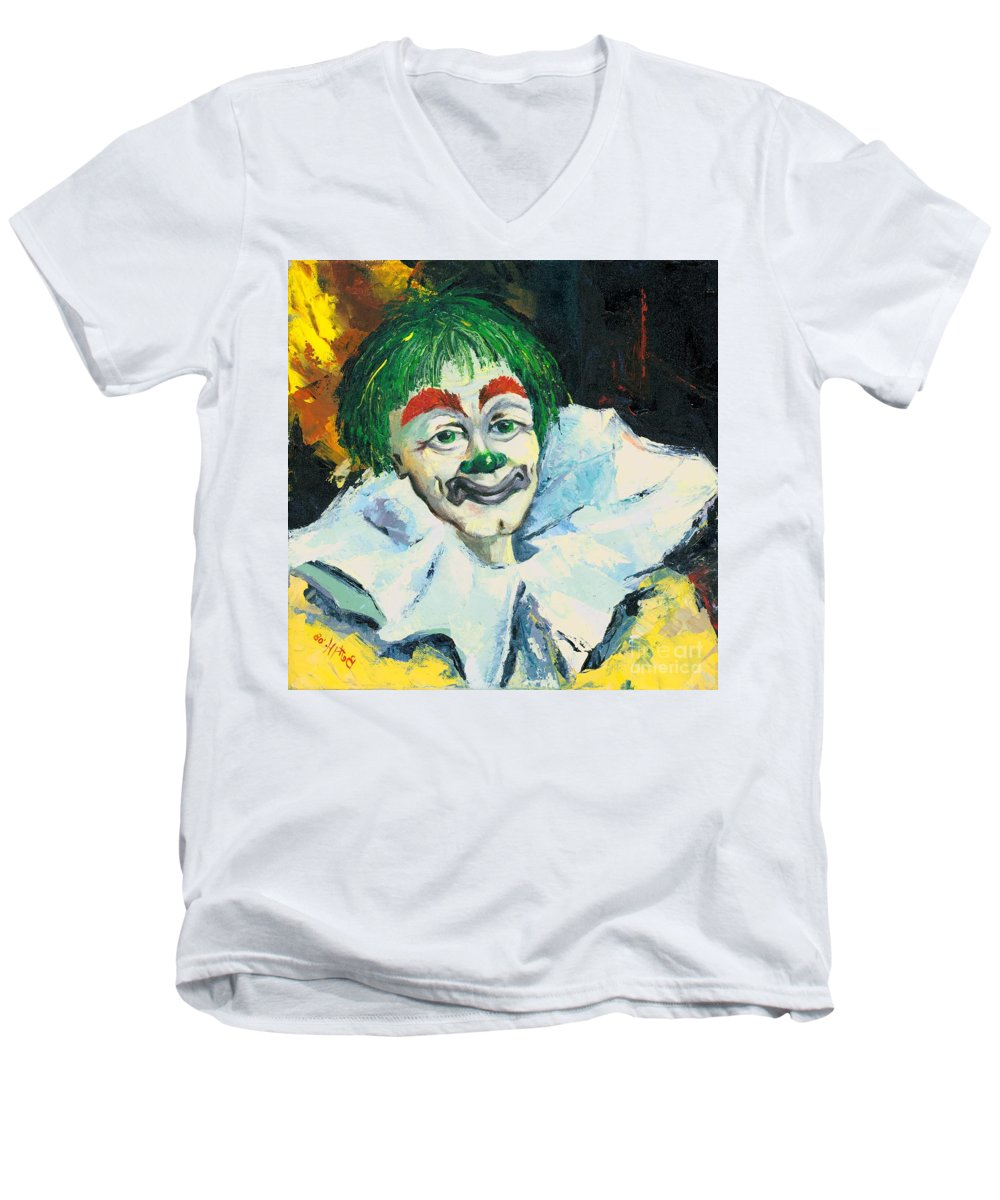 Canvas Prints Men's V-Neck T-Shirt featuring the painting My Friend by Elisabeta Hermann