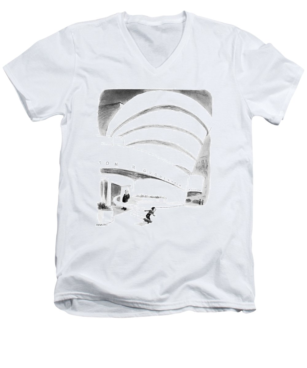 (boy Rides Out Of Guggenheim Museum On A Skateboard.) Architecture Men's V-Neck T-Shirt featuring the drawing New Yorker August 16th, 1976 by James Stevenson