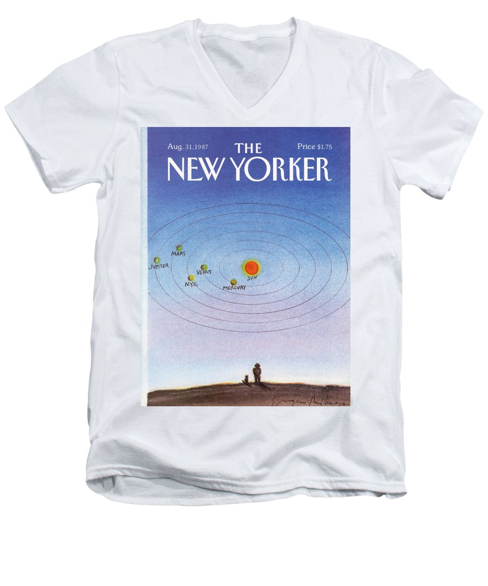 New York City Men's V-Neck T-Shirt featuring the painting New Yorker August 31st, 1987 by Eugene Mihaesco