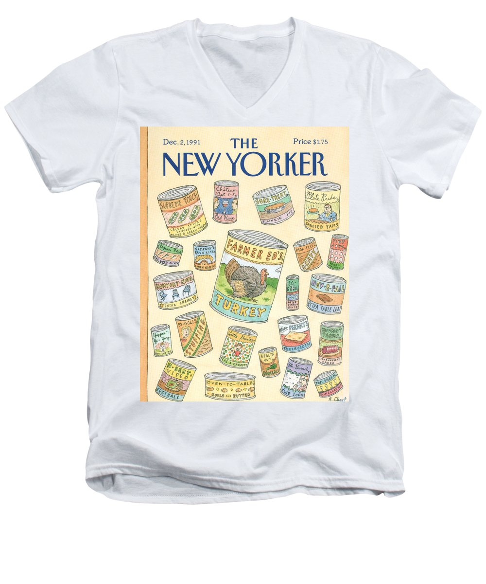 A Variety Of Thanksgiving Leftovers Prepackaged In Cans. Men's V-Neck T-Shirt featuring the painting New Yorker December 2nd, 1991 by Roz Chast