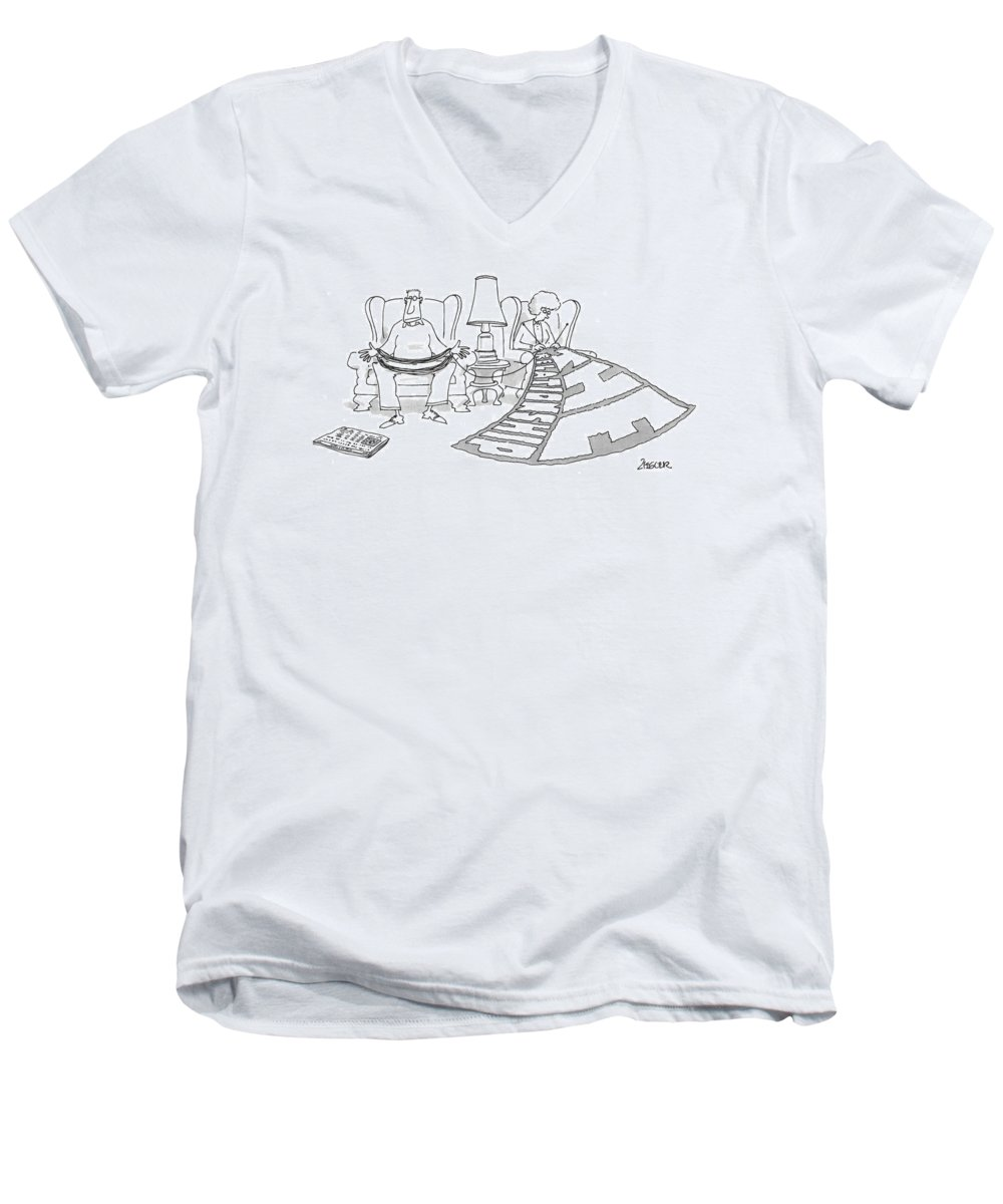 (woman Knits A Huge Blanket That Reads 'the Relationship' As He Husband Holds And Guides The Yarn.) Leisure Men's V-Neck T-Shirt featuring the drawing New Yorker February 3rd, 1997 by Jack Ziegler