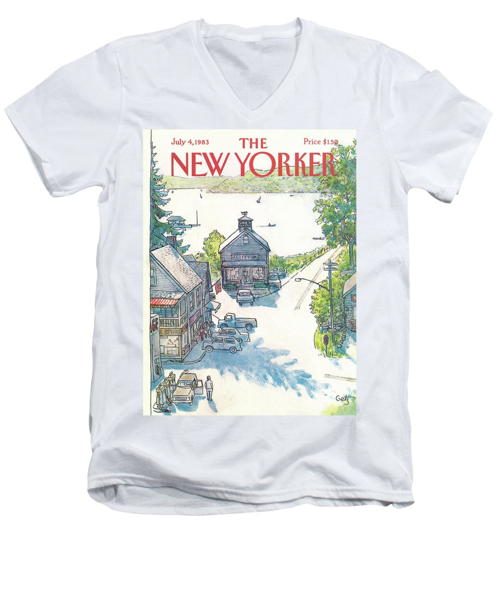 Rural Men's V-Neck T-Shirt featuring the painting New Yorker July 4th, 1983 by Arthur Getz