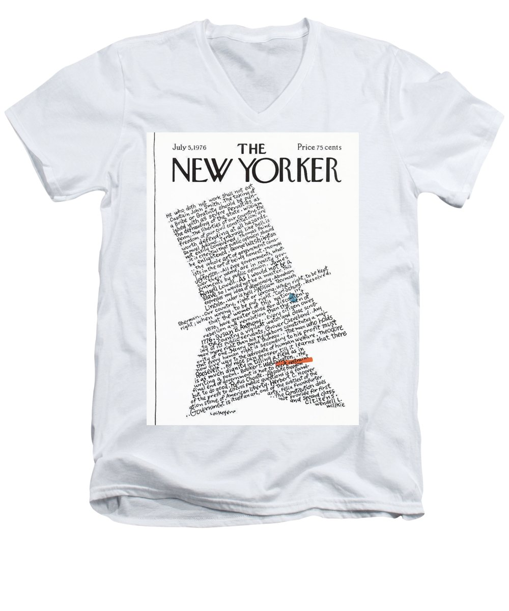 Calligraphy Men's V-Neck T-Shirt featuring the painting New Yorker July 5th, 1976 by Lou Myers