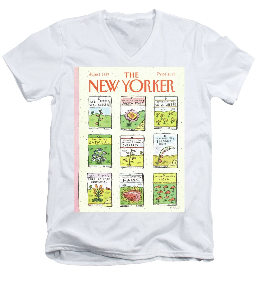 Dining Men's V-Neck T-Shirt featuring the painting New Yorker June 1st, 1987 by Roz Chast