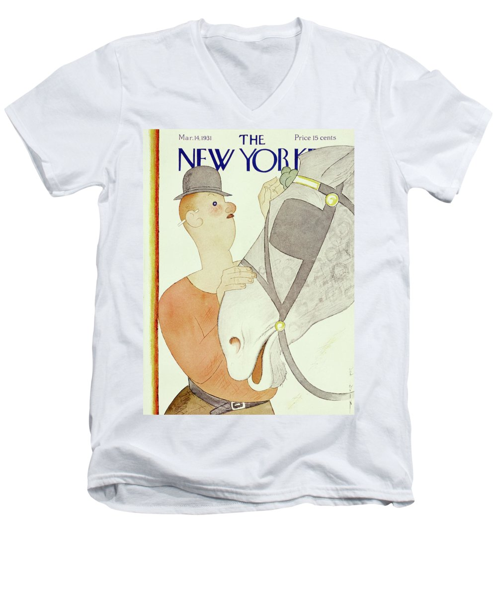 Illustration Men's V-Neck T-Shirt featuring the painting New Yorker March 14 1931 by Rea Irvin