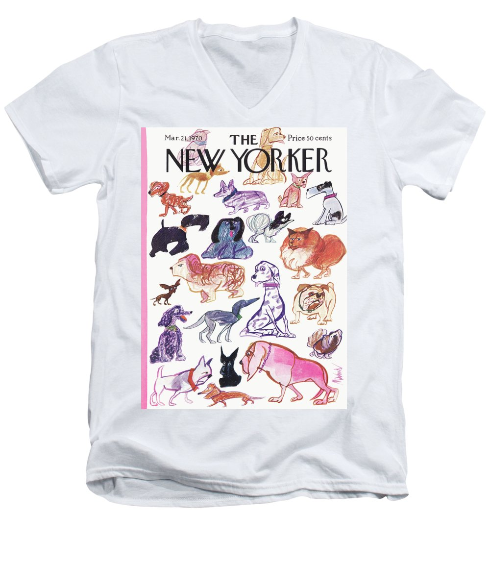 Animals Men's V-Neck T-Shirt featuring the painting New Yorker March 21st, 1970 by Kenneth Mahood