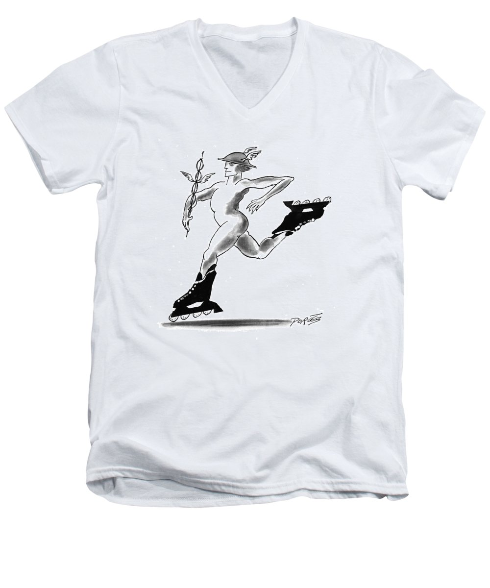 (mercury Wearing In-line Skates) Books Men's V-Neck T-Shirt featuring the drawing New Yorker March 29th, 1993 by Peter Porges