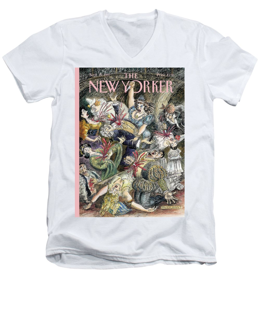 Opening Night Artkey 50918 Eso Edward Sorel Men's V-Neck T-Shirt featuring the painting New Yorker September 29th, 1997 by Edward Sorel