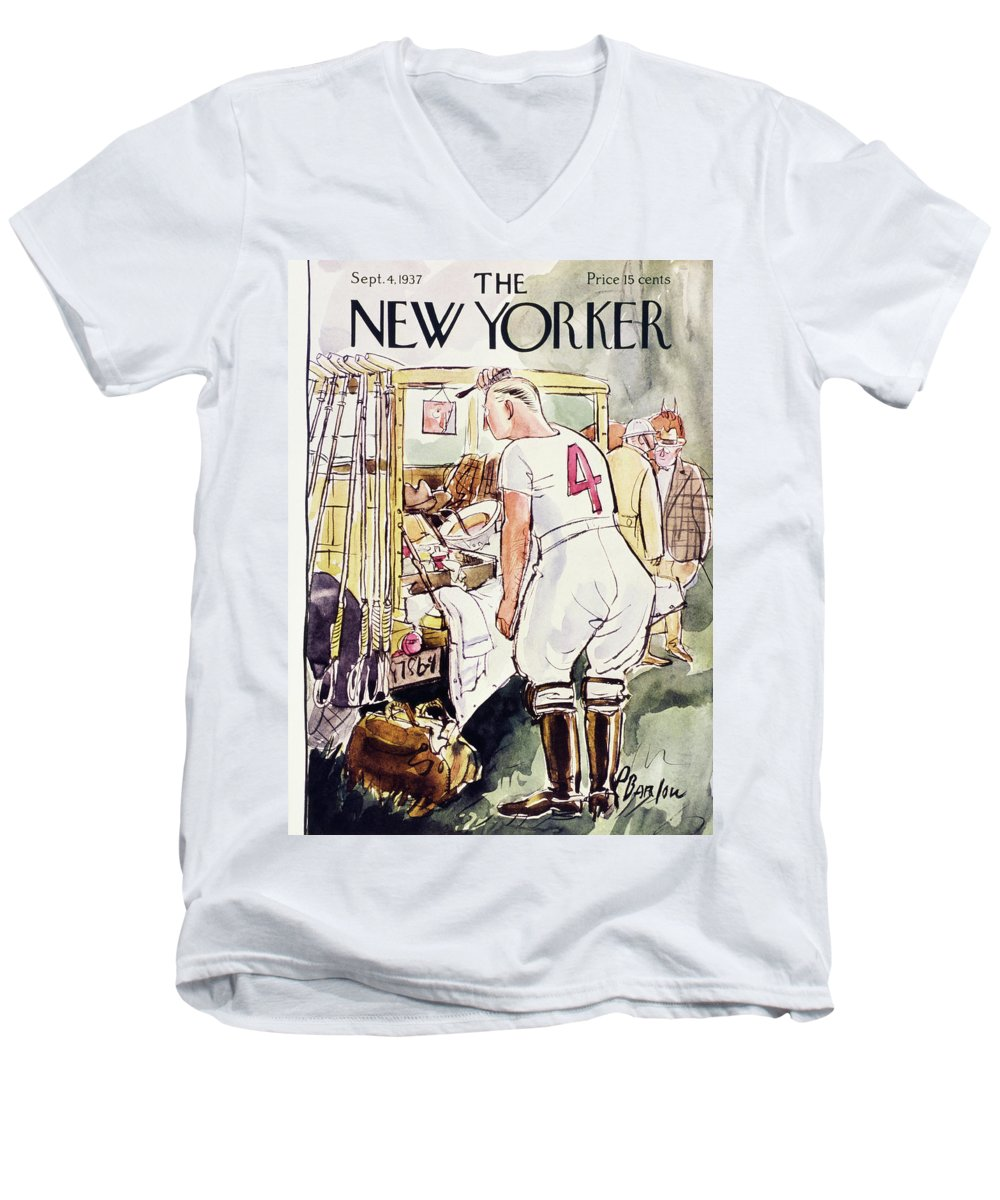 Sport Men's V-Neck T-Shirt featuring the painting New Yorker September 4 1937 by Perry Barlow