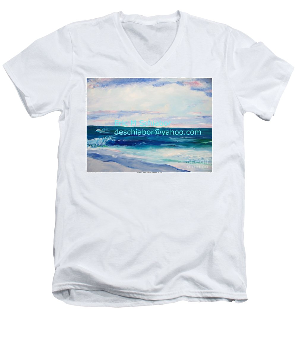 Floral Men's V-Neck T-Shirt featuring the painting Ocean Assateague Virginia by Eric Schiabor