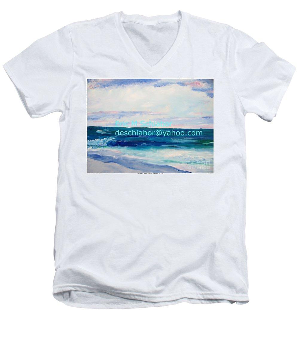 Floral Men's V-Neck T-Shirt featuring the painting Ocean Assateague Virginia by Eric Schiabor