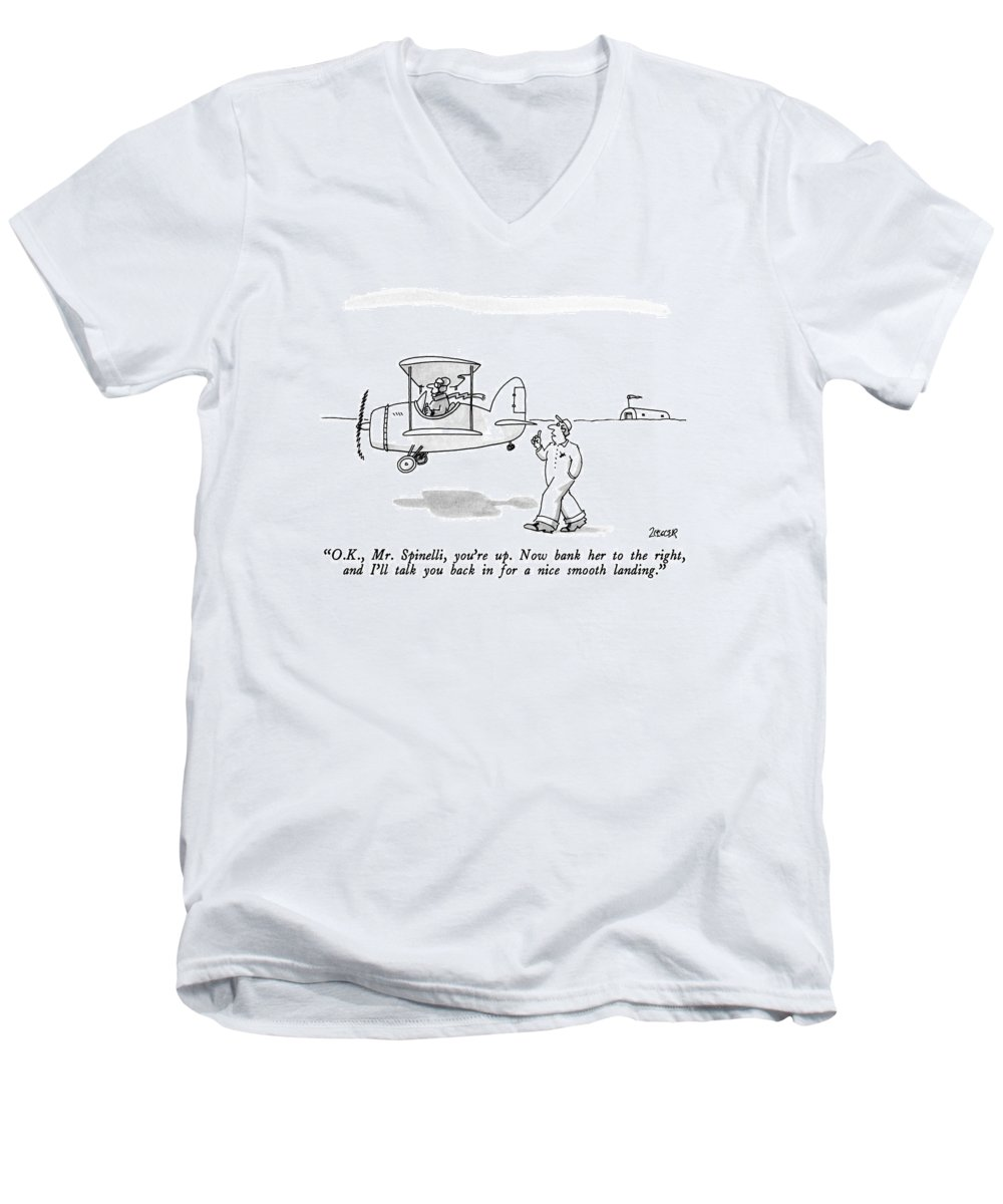 Entertainment Men's V-Neck T-Shirt featuring the drawing O.k., Mr. Spinelli, You're Up. Now Bank by Jack Ziegler