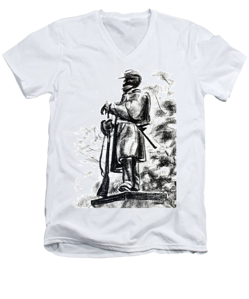 On Duty In Brigadoon No Ch101 Men's V-Neck T-Shirt featuring the drawing On Duty In Brigadoon No Ch101 by Kip DeVore