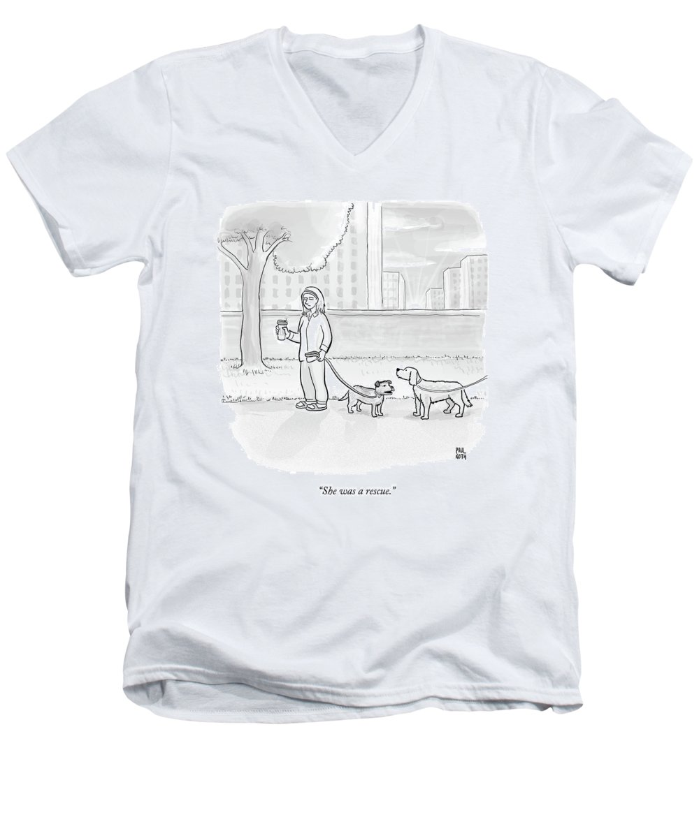 Dogs Men's V-Neck T-Shirt featuring the drawing One Dog Talks To Another by Paul Noth