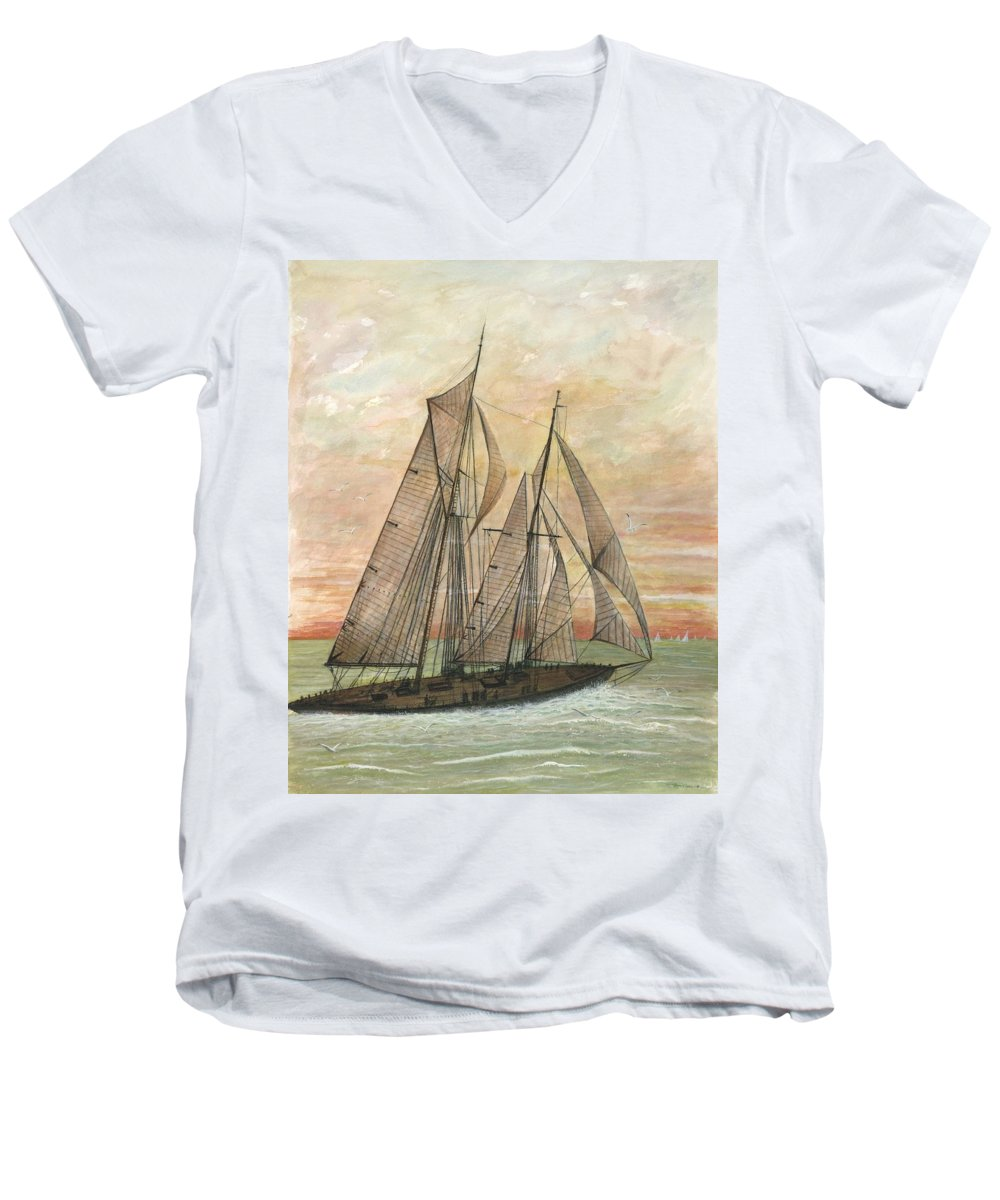 Sailboat; Ocean; Sunset Men's V-Neck T-Shirt featuring the painting Out To Sea by Ben Kiger