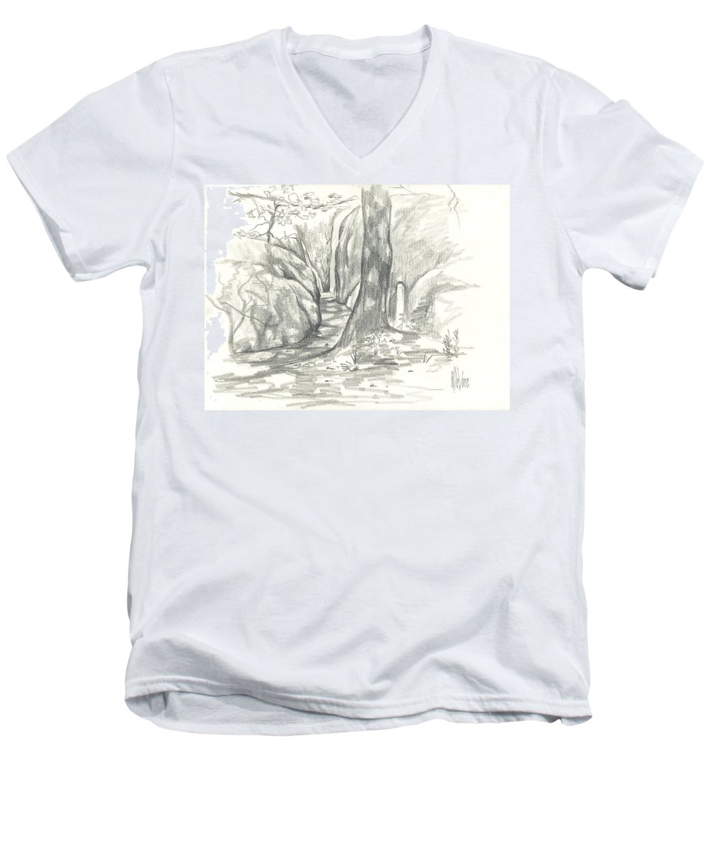 Passageway At Elephant Rocks Men's V-Neck T-Shirt featuring the drawing Passageway At Elephant Rocks by Kip DeVore