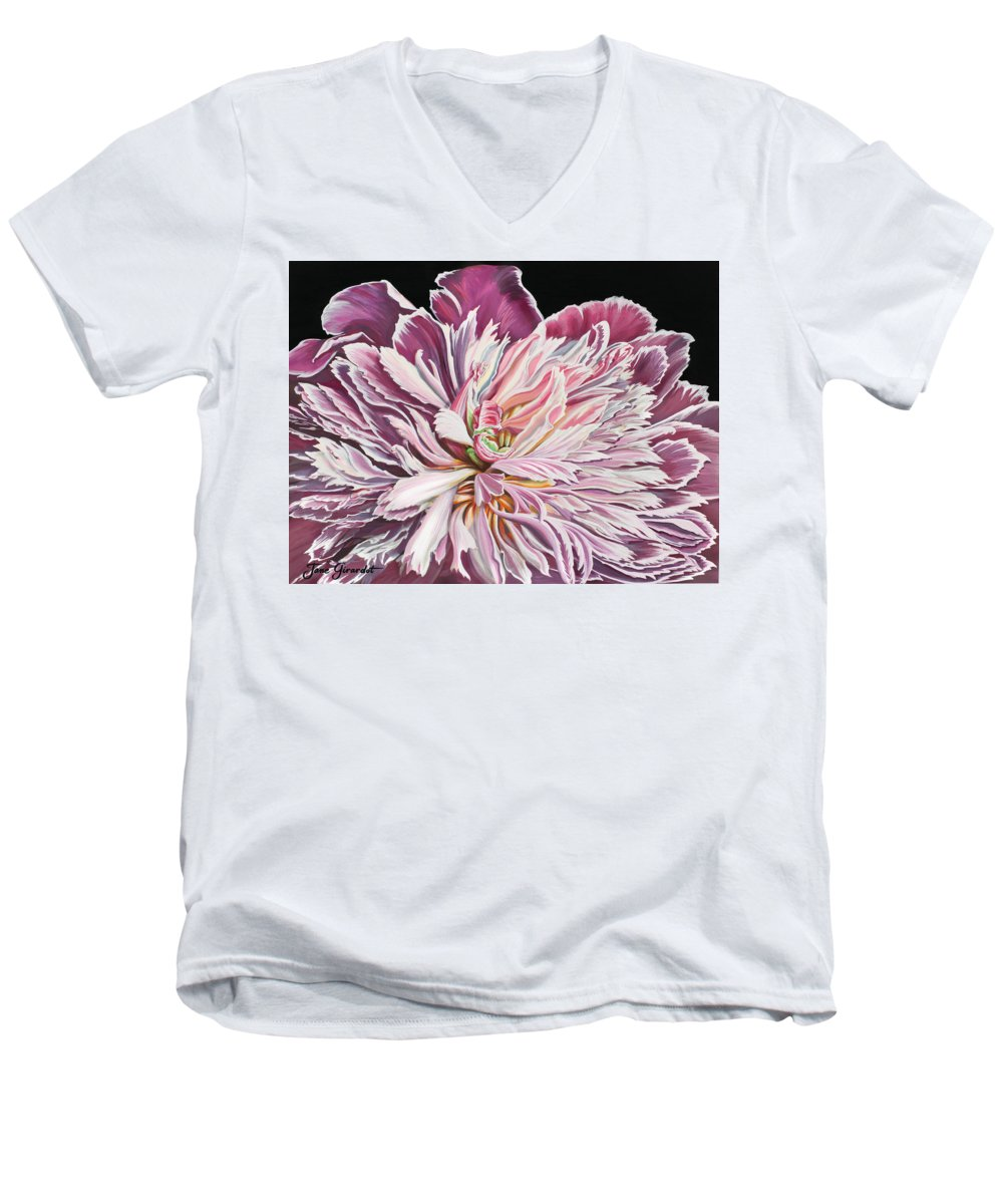 Flower Men's V-Neck T-Shirt featuring the painting Pink Peony by Jane Girardot