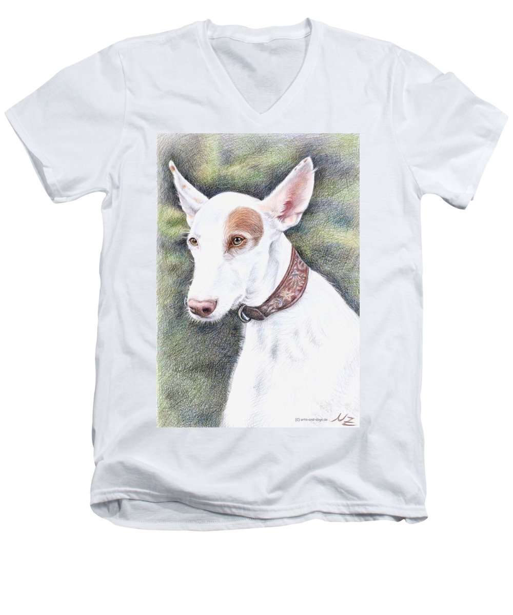 Dog Men's V-Neck T-Shirt featuring the drawing Podenco Ibicenco by Nicole Zeug