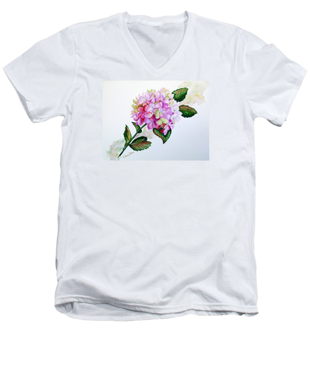 Hydrangea Painting Floral Painting Flower Pink Hydrangea Painting Botanical Painting Flower Painting Botanical Painting Greeting Card Painting Painting Men's V-Neck T-Shirt featuring the painting Pretty In Pink by Karin Dawn Kelshall- Best