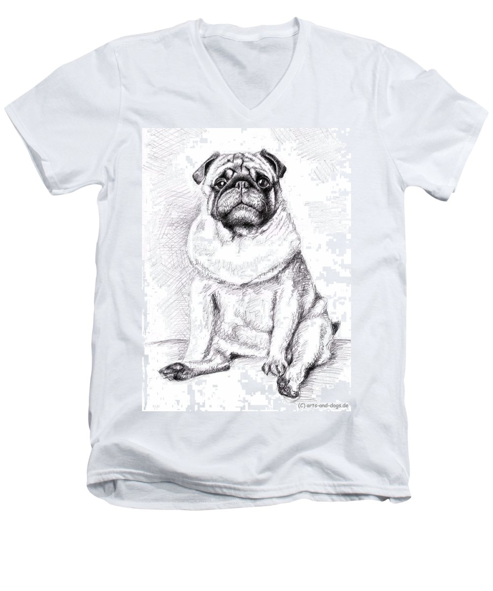 Dog Men's V-Neck T-Shirt featuring the drawing Pug Anton by Nicole Zeug