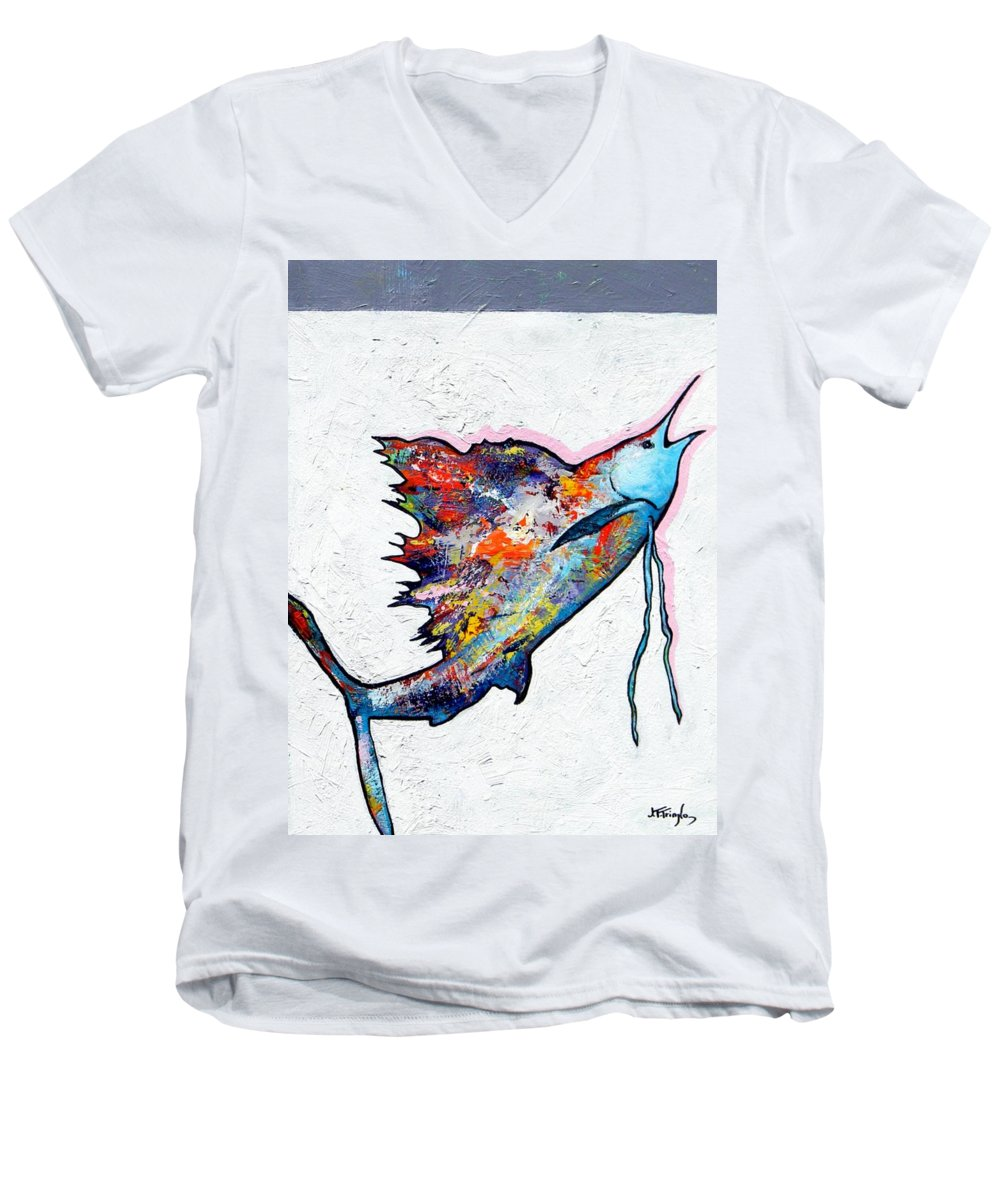 Wildlife Men's V-Neck T-Shirt featuring the painting Rainbow Warrior - Sailfish by Joe Triano