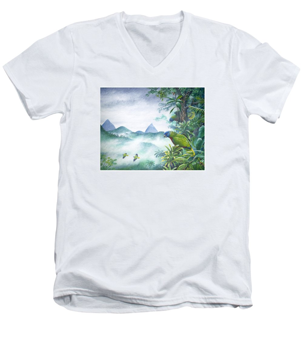 Chris Cox Men's V-Neck T-Shirt featuring the painting Rainforest Realm - St. Lucia Parrots by Christopher Cox