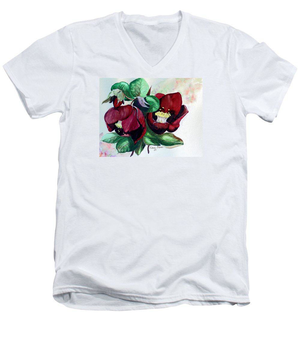 Red Helleborous Painting Flower Painting  Botanical Painting Watercolor Painting Original Painting Floral Painting Flower Painting Red Painting  Greeting Painting Men's V-Neck T-Shirt featuring the painting Red Helleborous by Karin Dawn Kelshall- Best