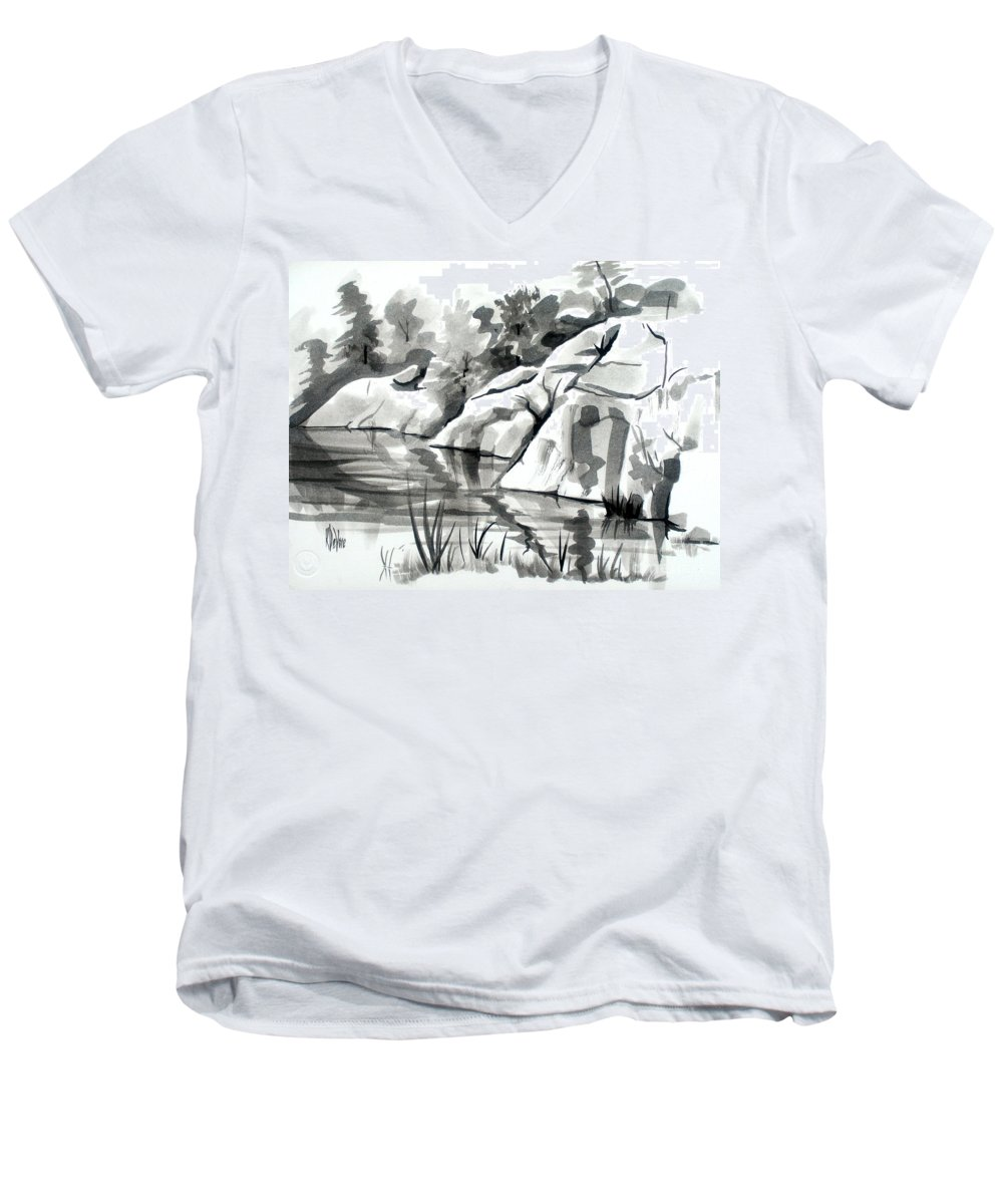 Reflections At Elephant Rocks State Park No I102 Men's V-Neck T-Shirt featuring the painting Reflections At Elephant Rocks State Park No I102 by Kip DeVore