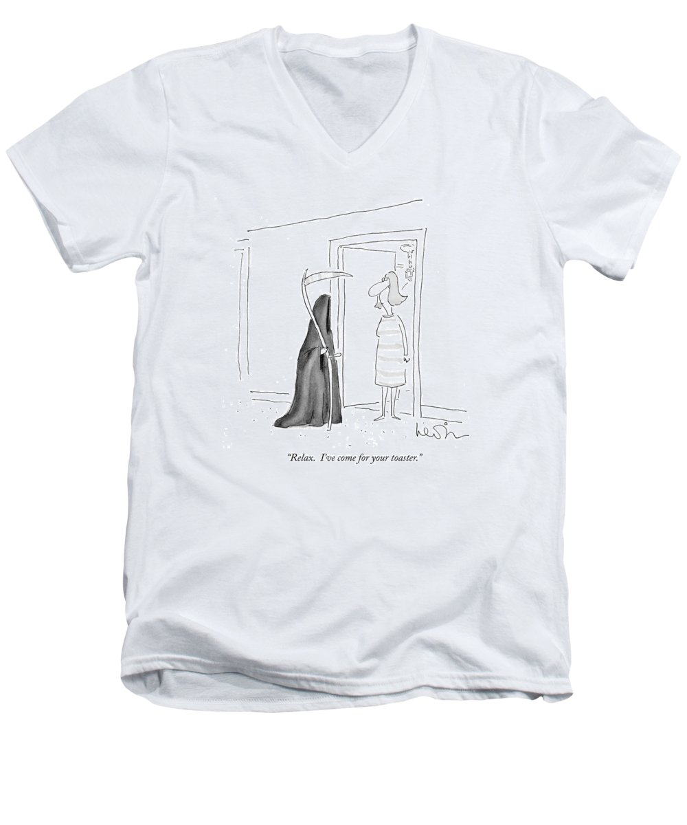 (grim Reaper Speaks To Woman In Her Doorway.) Death Men's V-Neck T-Shirt featuring the drawing Relax. I've Come For Your Toaster by Arnie Levin