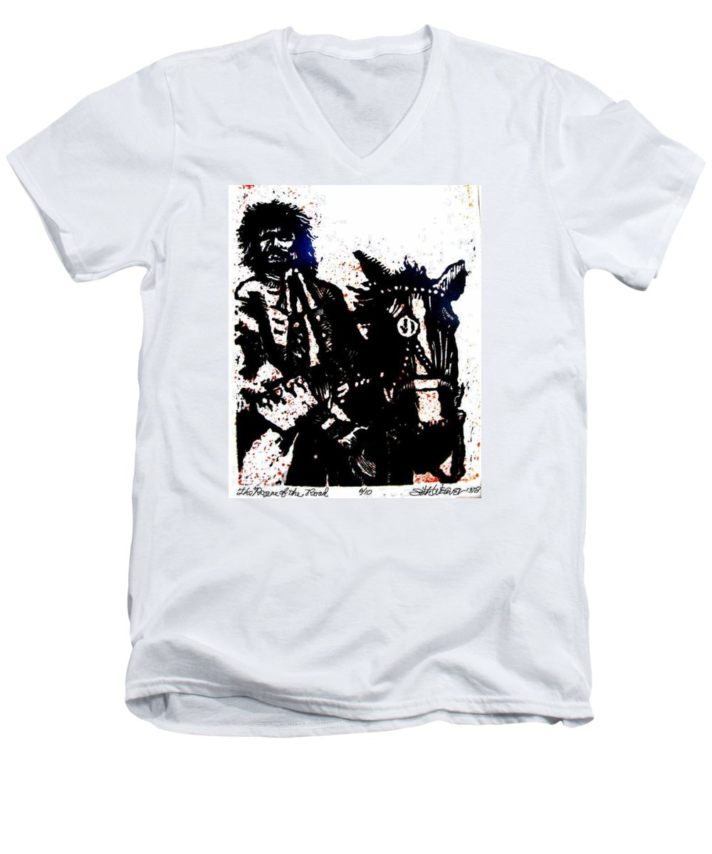 English Highwayman Men's V-Neck T-Shirt featuring the mixed media Rogue Of The Road by Seth Weaver