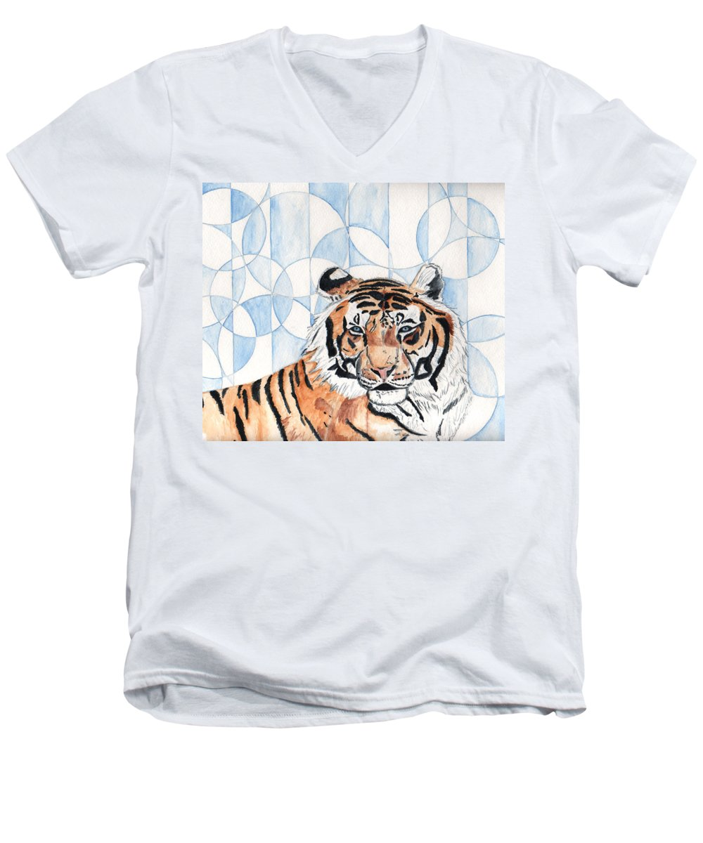 Tiger Men's V-Neck T-Shirt featuring the painting Royal Mysticism by Crystal Hubbard